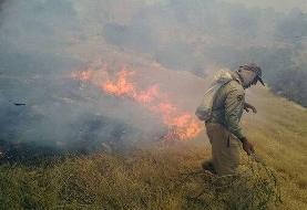 ببینید | جدال آتشنشانها با آتش در کوههای خاییز خوزستان