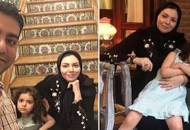 عکس متفاوت بی چادر آزاده نامداری با همسر جدید و فرزندش