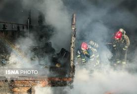 آتشسوزی در انبارهای شرکت فولاد خوزستان + ویدئو
