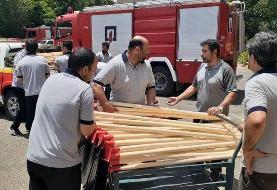 آتشنشانان تهرانی به یاری جنگلهای زاگرس رفتند