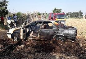 آتشسوزی گندمزار منجر به آتش گرفتن پژوپارس شد/ تصاویر