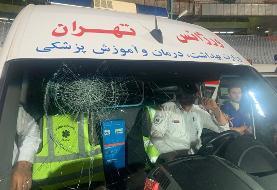 (عکس) مسعود شجاعی شیشه آمبولانس را شکست