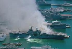 آتشسوزی در یک کشتی در پایگاه دریایی سندیگو در آمریکا ۲۱ مجروح برجای ...