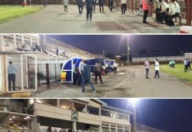 انزلیچیها قرنطینه را شکستند و وارد استادیوم شدند/عکس