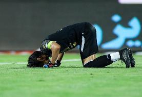 دلیل سجده شکر حسینی در پایان بازی با تراکتور/عکس