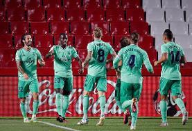 رئال مادرید ۲ - گرانادا یک | شاگردان زیدان ۲ امتیاز تا قهرمانی لالیگا