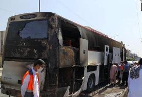 آتشسوزی اتوبوس ایرانشهر خسارت جانی نداشت