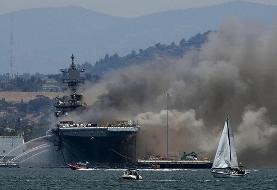 ببینید | جدیدترین تصاویر منتشر شده از انفجار و آتش سوزی در ناو آمریکایی ...