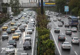 ترافیک در محدوده ایرانخودرو/جاده های۳ استان بارانی است