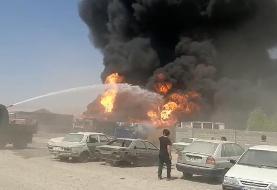 (ویدئو) آتش سوزی گسترده در شهرک