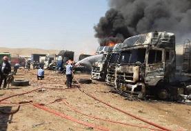 آتشسوزی در پارکینگ خودروهای سنگین کرمانشاه