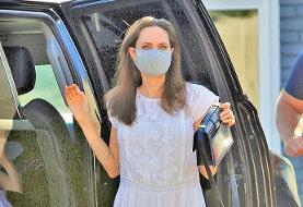 پایان قرنطینه | آنجلینا جولی با ماسک و کیف ۷۰ میلیونی به خیابان آمد