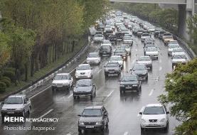ترافیک سنگین درمحور شهریار-تهران/محورهای گیلان واردبیل بارانی است