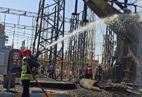 نخستین تصاویر از مهار آتش در نیروگاه زرگان اهواز   اعلام علت حادثه    آتشسوزی در پتروشیمی ...