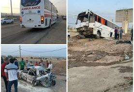 (تصویر) تصادف مرگبار اتوبوس و پژو پارس در آزاد راه قزوین - کرج