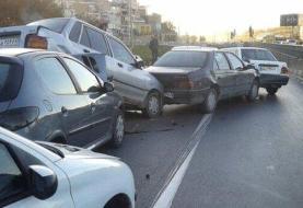 ببینید | تصادف زنجیرهای بیش از ۵٠ خودرو  در اتوبان کرج ـ قزوین
