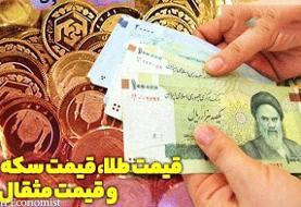 قیمت طلا و سکه، نرخ دلار و یورو در بازار ۲۲ مرداد