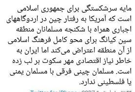 انتقاد تند مطهری از عدم اعتراض ایران به چینیها