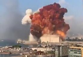 ویدئو | لحظه انفجار عظیم در بیروت پایتخت لبنان