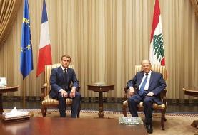 دیدار ماکرون با همتایی لبنانی در بیروت (+عکس)