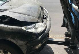 حادثه رانندگی برای مجری ورزشی تلویزیون/عکس