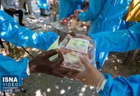 ویدئو / توزیع گوشت نذری در آستانه عید غدیر در قم