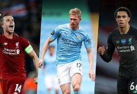 رقابت ۳ لیورپولی با دی بروین برای عنوان بهترین بازیکن سال لیگ برتر