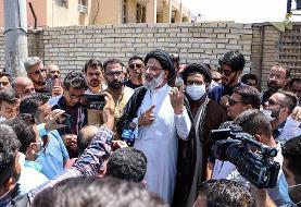 (تصاویر) امام جمعه اهواز در تجمع کارگران نیشکر هفت تپه