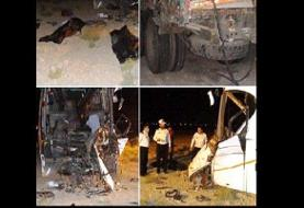 کشته و زخمی شدن ۲۰ نفر در تصادف یک اتوبوس و یک کامیون در محور کاشان به قم