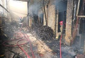 آتش سوزی در یکی از کارگاه های شهرک صنعتی چهاردانگه
