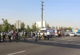 برخورد اتوبوس با عابران پیاده در بزرگراه بعثت/ ۴ مصدوم و یک فوتی