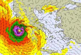 A hurricane-like storm in the Mediterranean is battering Greece, a rare phenomenon known as a ...