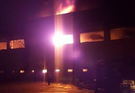 آتش سوزی گسترده در کارخانه لبنیاتی میهن اسلام شهر