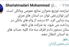 دستور شریعتمداری به شرکتهای تابعه در خوزستان برای محرومیت زدایی