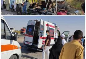 ۲۵ نفر از مصدومین تصادف در بیمارستان امیرالمومنین(ع) زابل تحت مراقبت هستند