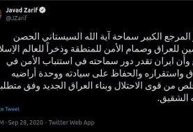 ظریف: آیتالله سیستانی سرمایه جهان اسلام است