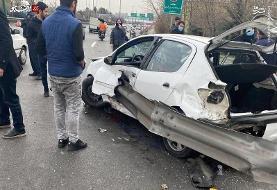 عکس/تصویری بسیار دلخراش از سانحه رانندگی در تهران