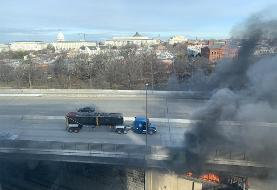 بلند شدن دود از نزدیکی ساختمان کنگره در واشنگتن