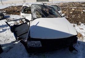 ۳ کشته و ۵ مصدوم در دو تصادف سواری و واژگونی تریلی در بیجار کردستان