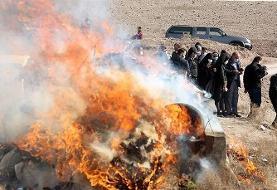 (تصاویر) امحای بیش از یک تن مواد مخدر در قزوین