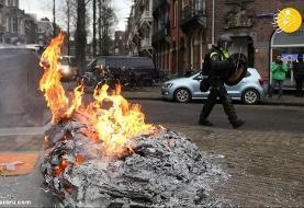 (تصاویر) اعتراضات خشونت آمیز علیه محدودیتهایی کرونایی در هلند