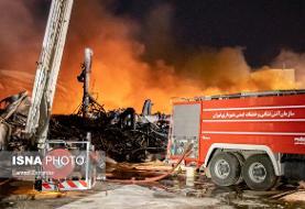 خسارت به جا مانده از آتشسوزی در کارخانه موادغذایی در زرندیه (عکس)