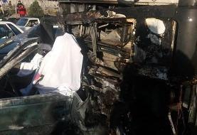 سوختن ۳ نفر بر اثر تصادف ۲ خودرو در آزادگان
