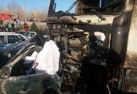 تصادف مرگبار در بزرگراه آزادگان/ سه سرنشین پژو در آتش سوختند
