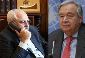 رایزنی تلفنی ظریف و دبیرکل سازمان ملل درباره یمن