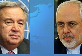 ظریف درباره یمن با دبیرکل سازمان ملل گفتوگو کرد