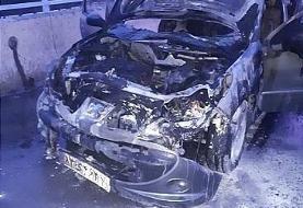 تصاویر | آتش گرفتن پژو ۲۰۶ روی پل صدر | حادثه برای خودروی در حال حرکت!