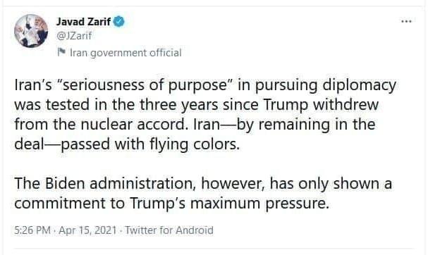 ظریف: ایران سربلند شد، بایدن به ترامپ تعهد دارد