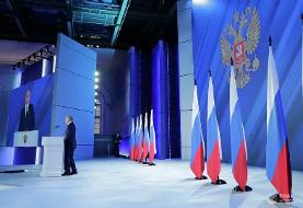 تصاویر سخنرانی سالانه پوتین | هیچ کشوری نباید از خط قرمز روسیه عبور کند