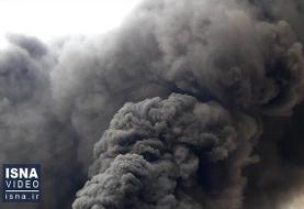 ویدئو / آتشسوزی کارخانه الکلسازی در قم
